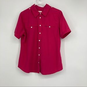 Chico's Hot Pink Size 1 (8) Short Sleeve Blouse